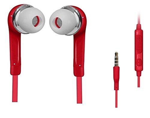 C63 ®-Casque Mains libres Ecouteurs Rouge pour SAMSUNG GALAXY S5/S4/S6 iPhone 6, 6 Plus, 5/5S/4S, iPad, iPod, lecteurs MP3/MP4, Macbook Pro et PC Tablette