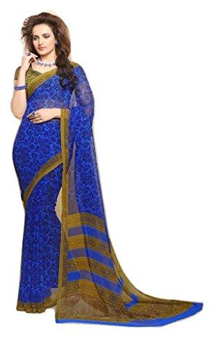 Jay Sares Elegent Designer Saree with abstract and floral prints - Jcsari3009d408d