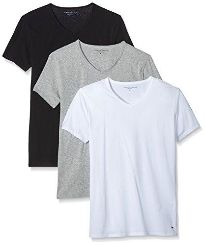 Tommy Hilfiger - Stretch V neck 3 pack premium ess, T-shirt da uomo Multicolore (Black/Grey Heather Bc05/White)