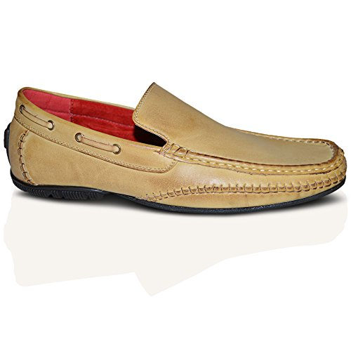 Macdonald Sporrans New Italian 100% cuir Line Loafer dérapant sur bateau - Brown Beige