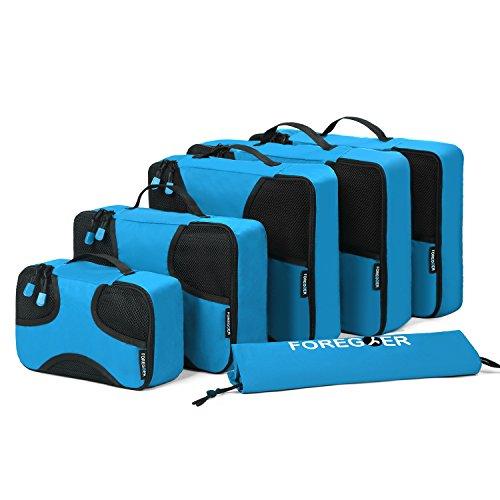FOREGOER 6-teiliges Set Kleidertaschen Packtaschen Kofferorganizer Reisetaschen mit Wäschebeutel - Blau