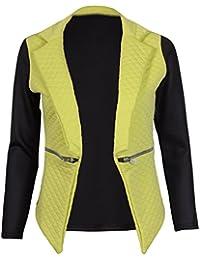 Womens Contrast Long Sleeve Ladies Stretch Round Scoop Neckline Open Front Quilted Pocket Zip Jacket Coat