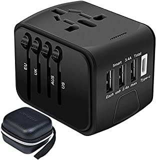 SZROBOY International Travel Adapter Universal Power Adapter All in One USB Wall Charger Worldwide AC Power Plug Adapter 3xUSB & 1 Type-C Ports Travel for Europe,UK,US,AU overs 200+Countries(Black)
