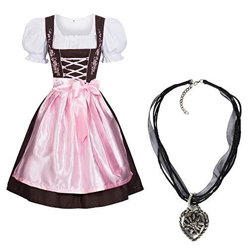 Gaudi-Leathers Dirndl Set 3 TLG.braun mit Stickerei Halskette Pink 42
