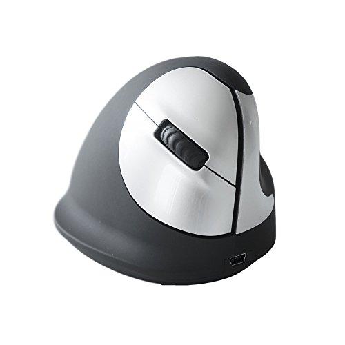HE kabellos Rechtshänder Ergonomie Maus (5-Tasten, USB) schwarz-silber
