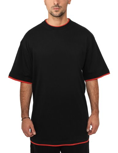 Urban Classics Bekleidung Contrast Tall Tee-T-shirt Uomo, Blk/Red, X-Large (Tallia Produttore: X-Large)