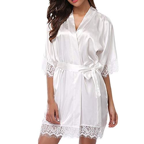 Luckycat Frauen reizvolle Spitze Babydoll Kleid Frauen V-Ausschnitt Lange Hülsen Wäsche Reine Farben Spalt Nachtwäsche beiläufige Unterwäsche Nachtwäsche -