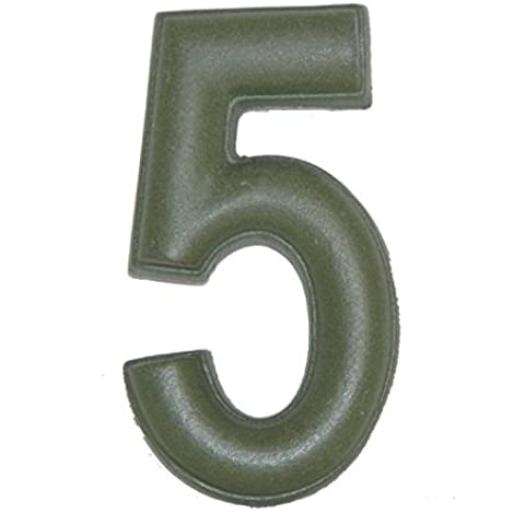 Numero Civico 5 Ceramica In Gres - Colore Verde Smeraldo Naturale cm11x6 h1,5