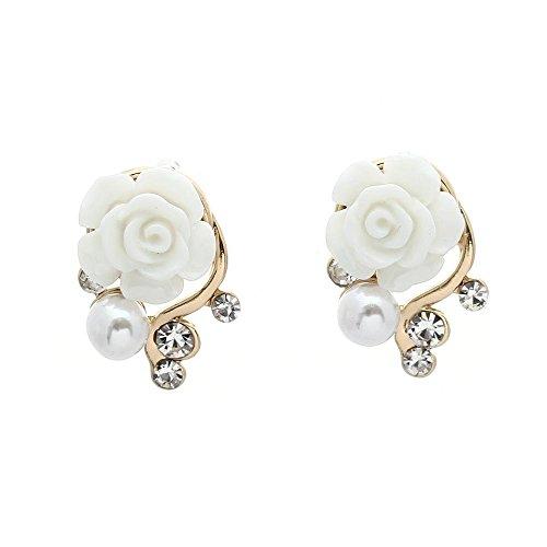 SODIAL(R) Coppia Donne Orecchino Perno carino bianca Resina Rosa Fiore Brillante Strass Faux Perla