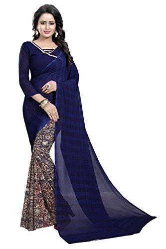 Visva Fashion Women's Cotton Saree With Blouse Piece (Fws_1652_Half Neavy Blue)