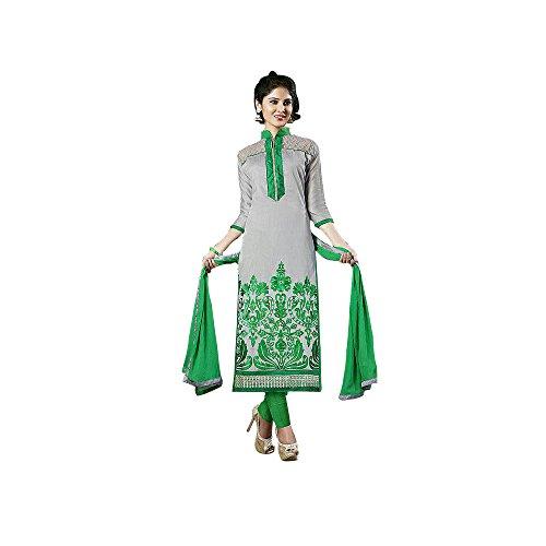 LIKE A DIVA Grey Chanderi Party Wear Salwar Kameez Dress Material