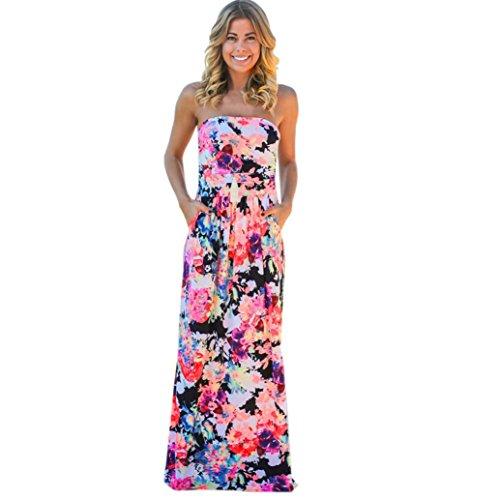 Sannysis Damen Bandeau Urlaub Langes Kleid Damen Sommer Blumen Maxi Kleid (Multicolor, Asien Größe:M) (Kleidung Bandeau)