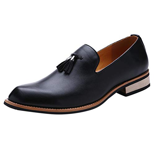 KonJin Men's Leather Lined Dress Loafers Slip-On Shoes Premium Leather Slip On Oxfords Lightweight Business Patent Wedding Shoes Womens Lace Up Chaps