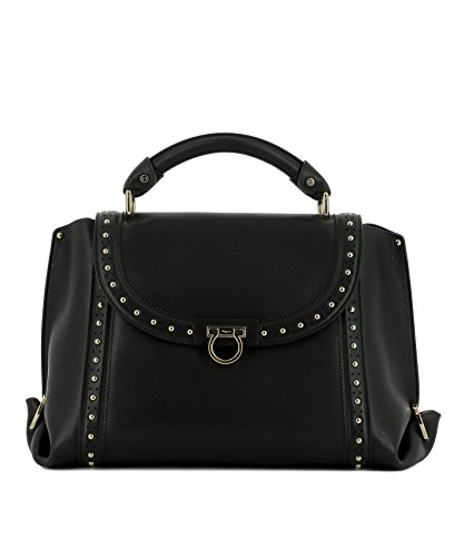 Salvatore-Ferragamo-Womens-0681060-Black-Leather-Handbag