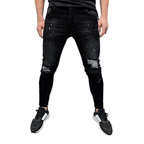 Somesun uomo pantaloni in denim elasticizzato distressed ripped frayed slim fit pantaloni di jeans stampati strappato stretti alla caviglia elasticizzati lavoro elegante sportivo