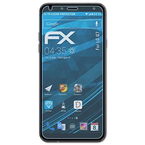 atFolix Schutzfolie kompatibel mit LG Q7 Folie, ultraklare FX Bildschirmschutzfolie (3X)