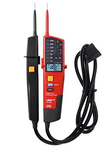 UNI-T UT18C Probador de Voltaje y Continuidad - Digital LCD Medidor Tester Detección de Voltaje de Rango Automático con Indicación de LED Luz