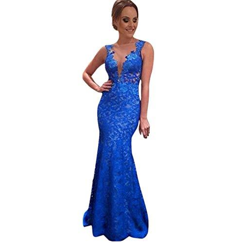 CLEARANCE! MEIbax ❤️Frauen langes Kleid Spitze Abend Party Ball Brautjungfer Ballkleid Kleider (Blau, S)
