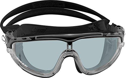 Cressi skylight premium occhialini per nuoto, piscina, triathlon e sport acquatici, uomo, nero/grigio/lenti fumé
