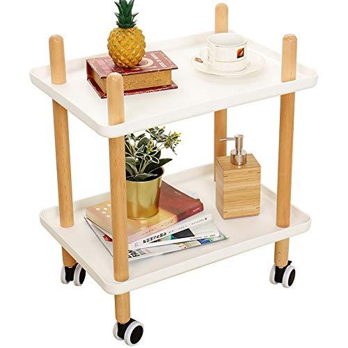 JPVGIA Sofa Beistelltisch mit Rädern, Tray End Table Wohnzimmer Schlafzimmer, 2-Tier-Nachttisch Dienstprogramm Rollwagen 2 Farben (Color : White-1001, Size : Rectangular) 2-tier Tray Table