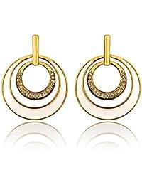 Mes-Bijoux-Bracelets Boucles d oreilles clou et puce Zircons émail blanc  dorées or jaune 750 000 18ct carats Cadeau… d02fbc97ac04