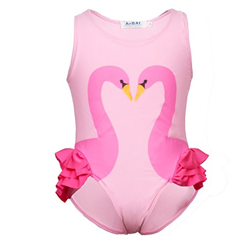 Flamingo Badeanzüge Mädchen Schwimmanzug mit Badekappe Baby Kinder Kleinkind Neckholder Bikini Bademode Schwan Badeanzug Einteilig