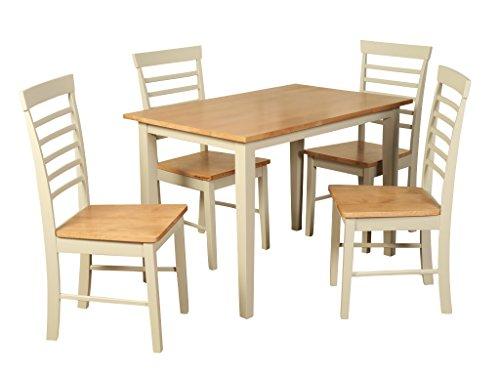 The One en chêne Pierre Painted Ensemble de Salle à Manger – Bergen Painted Chêne 3.5 'Table de Salle à Manger avec 4 chaises – Meubles de Salle à Manger