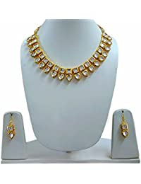 Vivaarya-Fashion Jewellery Gold Plated Double Chain Kundan Pearl Traditional Necklace Set For Women
