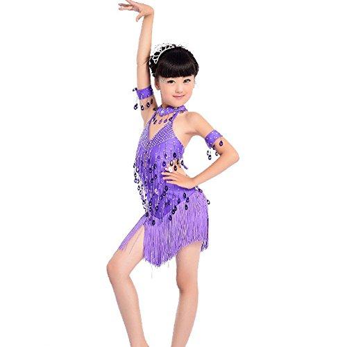 Wgwioo Kinder Latein Tanzkleid Kostüme Teen Girls Wear Kids Bühne Aufführungen Gruppe Match Kleidung Modern Übung Spiel, Purple, 130Cm (Teen Gruppe Kostüm)