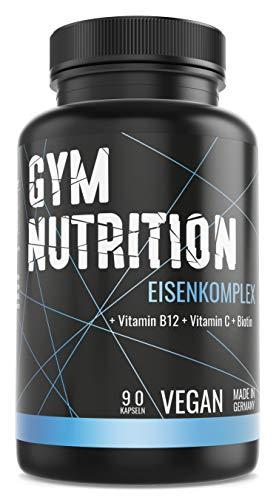 GYM-NUTRITION® — PREMIUM EISEN-Komplex + Biotin + Vitamin B12 + Vitamin C – Hochdosiert, vegan, ohne Zusätze – Extra hochdosiert– Made in Germany – 90 Kapseln