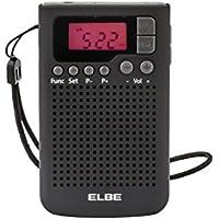 Elbe RF-93 - Radio de bolsillo digital, altavoz, memoria 20 emisoras, color negro