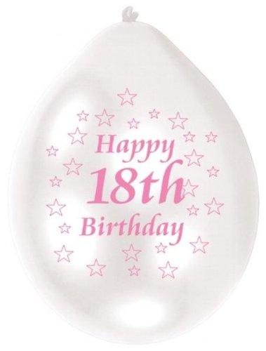 Geburtstag 10 Luftballons, Pink/Weiß (18 Geburtstag Zubehör)