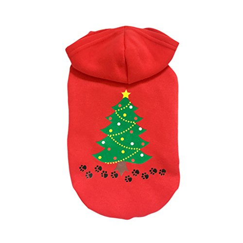 Kleider Hund (Weihnachten Baumwoll Sweatshirts Hoodie für Hunde Haustier Kleider Wintermantel Kapuzenpullover Hundekostüm Bekleidung Rot ( Fußspuren + grüner Weihnachtsbaum))
