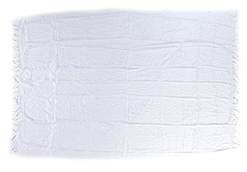 Sarong Handbestickt inkl. Sarongschnalle im Raute Design - Viele Größen und exotische Farben und Muster zur Auswahl - Pareo Dhoti Lunghi Stickerei Weiss
