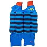 Abbigliamento Galleggiante per Bambini Bambino Ragazzo Ragazza Costumi da Bagno Galleggianti Protezione Solare con Galleggiabilità Regolabile, UPF 50+ (Blu Nero Banda, S)