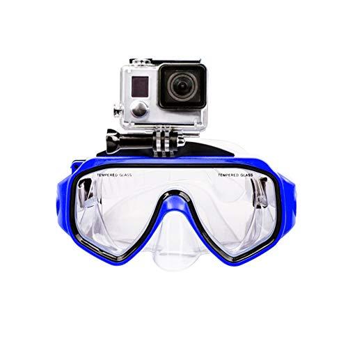 LiDCH Masque de plongée avec Monture Amovible à vis pour lentilles de Natation en Verre trempé GoPro Hero 7/6/5/4/3 + / 3 Verre antibrouillard pour la plongée sous-Marine, Bleu