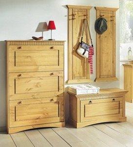clever-moebel Massive appendiabiti da parete in legno di pino – set ...