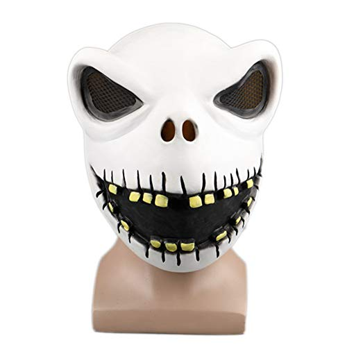nihiug Halloween Nacht Beängstigend Puppe Maske Hood Halloween Show Requisiten Teufel Gimmick Cos,White1-OneSize