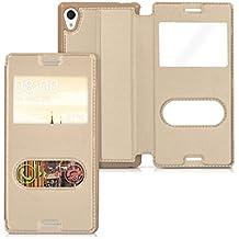 kwmobile Funda estilo Flip Case para Sony Xperia M4 Aqua Funda protectora de piel sintética con tapa y ventanita en oro