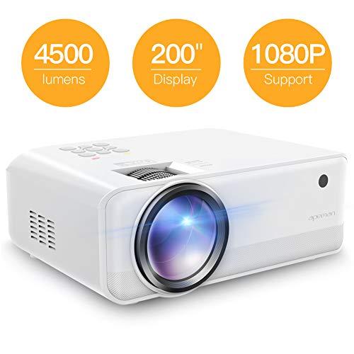 Proyector APEMAN 4500 lúmenes Mini proyector portátil Resolución Nativa 720p con doble altavoz LED Vida útil de hasta 50000 horas de cine en casa Soporte HDMI USB VGA SD Caja con Android IOS TV