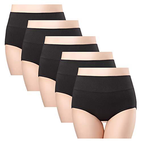 wirarpa Damen Baumwolle Unterwäsche Wochenbett Baumwollunterhosen Kaiserschnitt Unterhose 5 Pack Schwarz Slips Größe 44 46 (Baumwolle Damen-unterwäsche)