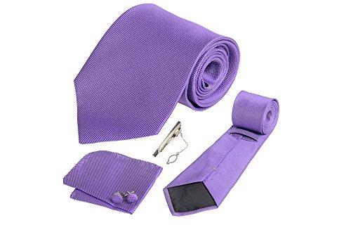 Coffret Tunis - Cravate mauve lila, boutons de manchette, pince à cravate, pochette de costume