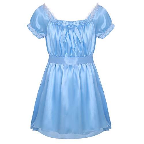 iiniim Herren Unterwäsche Nachthemd Satin Sissy Nachtkleid