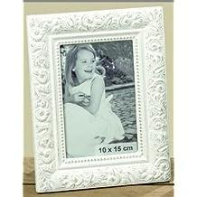 Marco de Fotos con incrustaciones ornamentales Francés 10x15cm (Blanco)