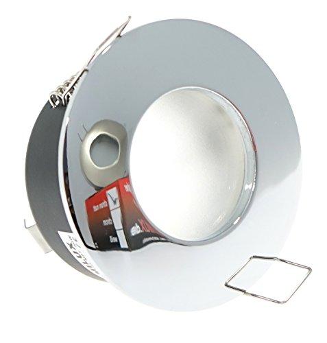3er Set 230V Feuchtraum Bad-Spots Decken Einbaustrahler Einbauleuchte IP65 Innen DRY Aluminium rostfrei & SMD-LED Leuchtmittel 5W GU10 (Chrom / - Chrom Set Wanne