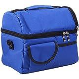 humefor multifuncional lienzo doble capa bolsas de almuerzo para picnic, trabajo al aire libre, camping, senderismo, azul
