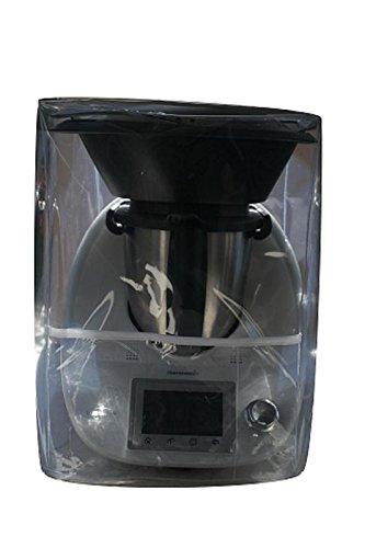 Ma Belle Housse - Housse De Protection Pour Thermomix TM6/Tm5/Tm31 Transparent Avec Varoma Biais Blanc