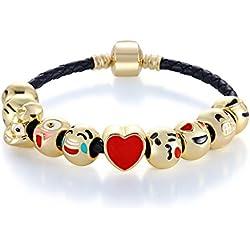 MANBARA 18K oro plateado Emoji enfrenta encantos pulseras con cuerda de cuero negro Teen Girls Gift, 7,5 pulgadas