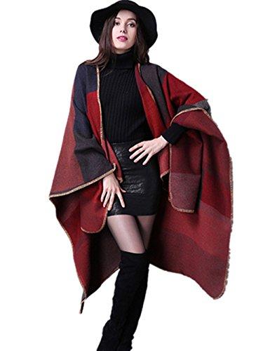 Coffeepop da donna irregolari cappa cardigan maglione cappotto sciarpa Red Taglia unica
