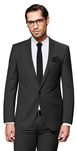 PABLO CASSINI Herren Anzug Fine Art - 3 teilig - Grau Smoking Hochzeit Ein-Knopf Business PCS_2 (102) (2-knopf-smoking)